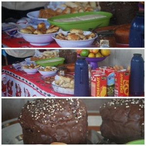 Christmas breakfast inc Christmas chocolate cake made by Viviane, Jair and Aparecida's daughter