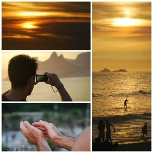 The crowds clap as the sun finally sets.. Ipanema.