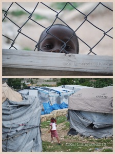 A child takes a sneak peek. Below: A child in her home surrounds. The reality of the camps