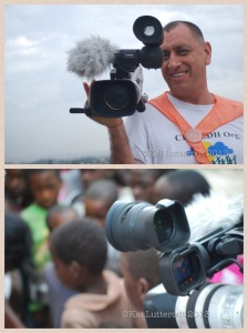 Carlos captures some moments on camera during distribution of food to the camps