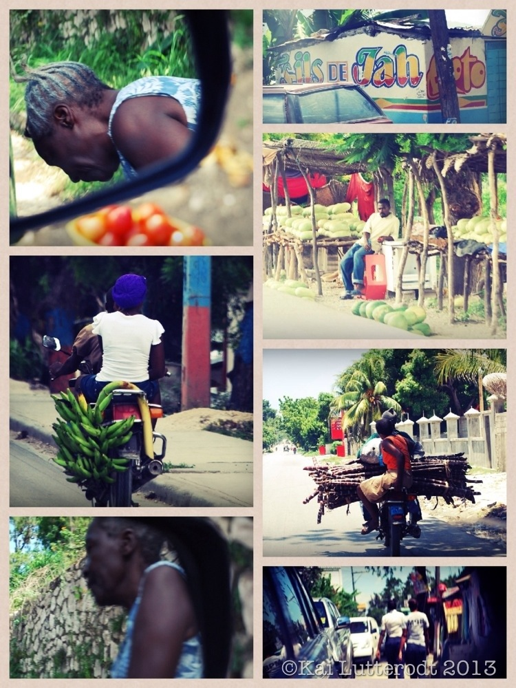 An old lady sells us tomatoes... Moto-taxis transport passanges- and various foods