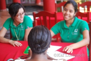 Aimee and Alina, the event organisers  interview for staff in Hato Mayor