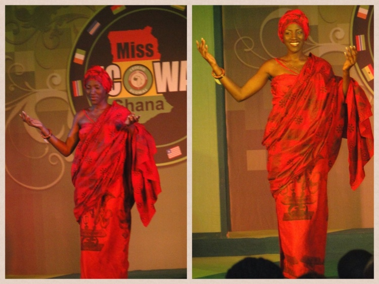 In the traditional wear segment of the Miss Ghana ECOWAS pagemant... Dressed as a 'Mane' Queenmother.