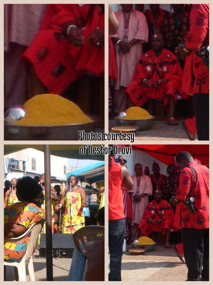 Photos from last weeks Homowo ceremony in Accra, James Town. The Chief sprinkles kpekple to the gods before it is served to anyone