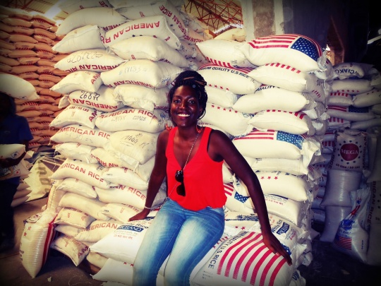 Surrounded by rice packeted and imported in the USA...