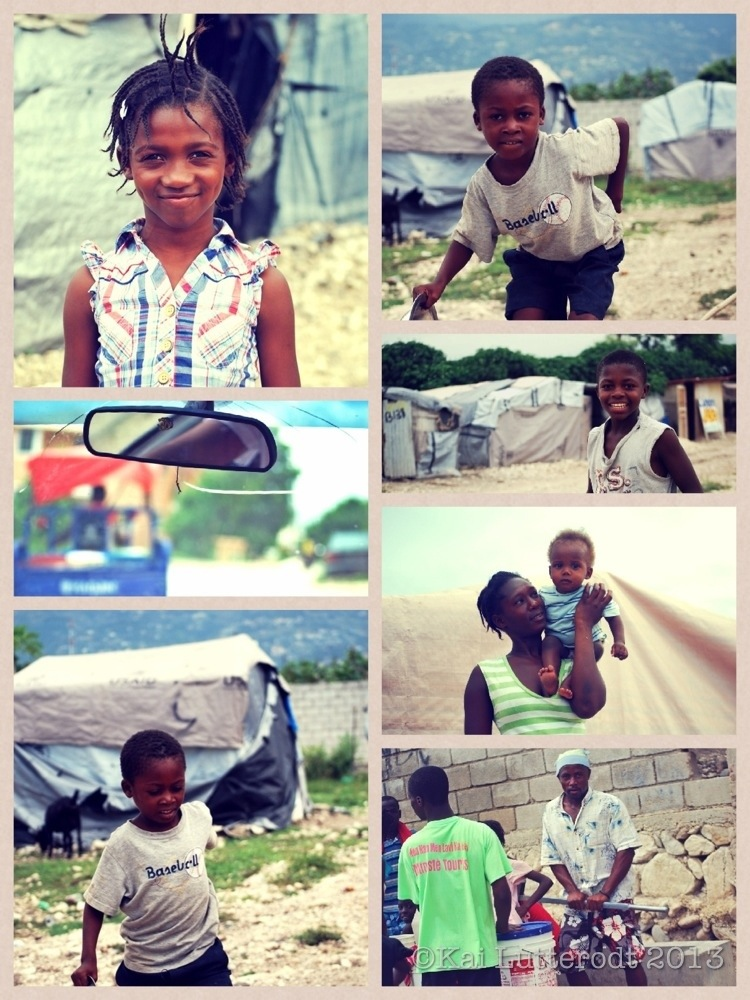 Children of the camps. The Sathya Sai centre vehicle delivers 2000 meals daily to children living in camps across Port-au-Prince. -A community leader helps pump water