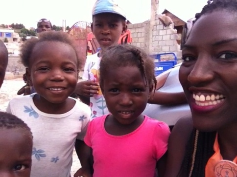 with the children at one of the camps in Delmas
