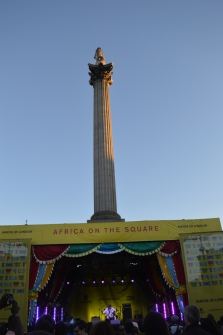 Nelson's column looms high above Trafalgar Square