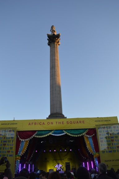 Nelson's column looms high above Trafalgar Square