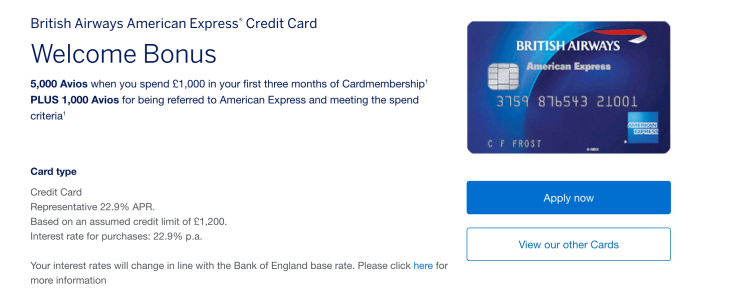 British Airways Amex Avios